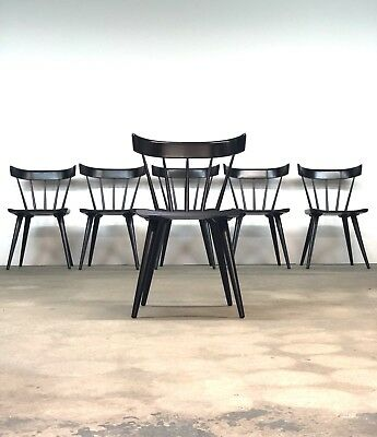 Paul McCobb   Planner Group Set (6) Black Dining Chairs   Mid Century spindle