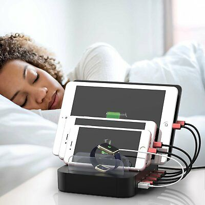 Multi Port USB Charging Station Dock Stand Desktop Charger Hub for Phone Tablet