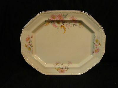 Vintage Edwin Knowles China KNO20 Oval Platter Pink White Daisies