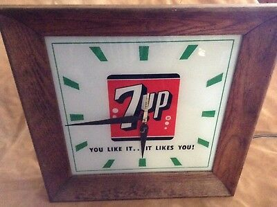 """60's VINTAGE 7 UP LIGHTED CLOCK YOU LIKE IT...IT LIKES YOU 15 1/2"""" Sq. ft"""
