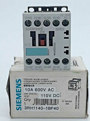 Siemens 3RH1140-1BF40 Auxiliary Contactor Relay 10A 600V AC 110V DC Phased out