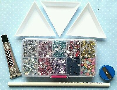 Flatback Faceted Resin Rhinestones & Half Bead Pearls Mix Color Size 4, 5, 6mm