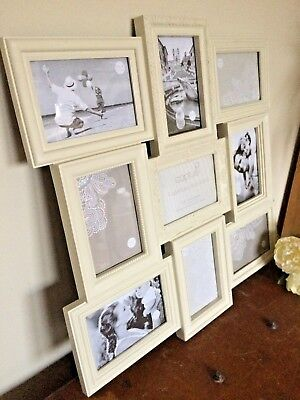 SHABBY CHIC LARGE Cream Multi Aperture Picture Frame Home Decor Gift ...