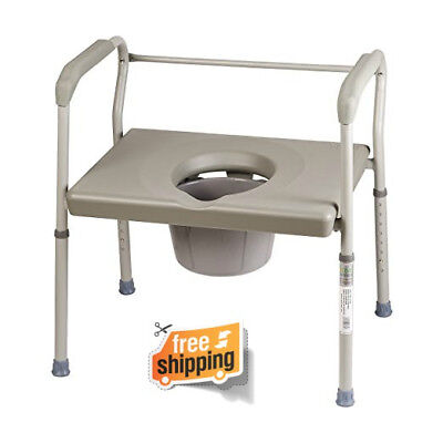 Duro-Med Commode Chair Heavy-Duty Steel Commode Toilet Chair Adult Safety Frame