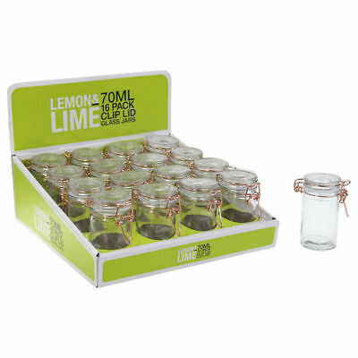 16 pcs Mini Spice Rose Clip Lid Jars Clear Glass Storage Container Kitchen 70ml