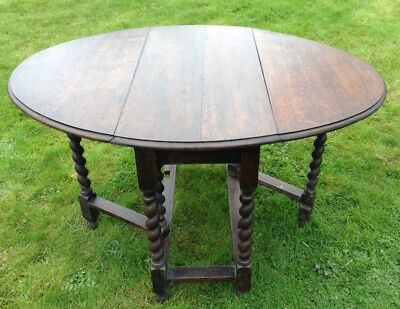 Antique Solid Oak Drop Leaf Table With Barley Twist Legs