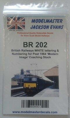 Letters & Numbers Decals for BR 1965-90s Coaching stock Modelmaster MMBR202 L1