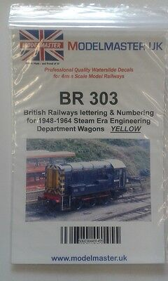 Sheet of decals for BR 1948-65 Engineering Dept. Wagons Modelmaster MMBR303 L1