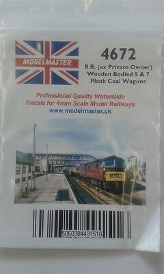 Numbers for ex wooden private owner wagons (BR 1948-60s) Modelmaster MM4672 L1