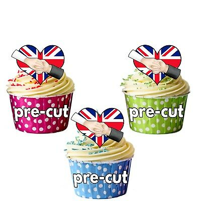 24x PRECUT ROYAL NAVY ARMED FORCES DAY RICE//WAFER PAPER CUP CAKE TOPPERS