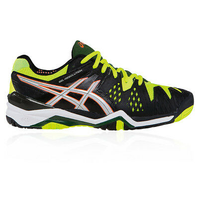 Asics Mens Gel-Resolution 6 Court Shoes Black Yellow Tennis Sports Trainers