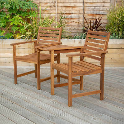 Wooden Companion Seat Garden Chairs with Table Wooden Bistro Garden Furniture  sc 1 st  PicClick UK & WOODEN COMPANION Seat Garden Chairs with Table Wooden Bistro Garden ...