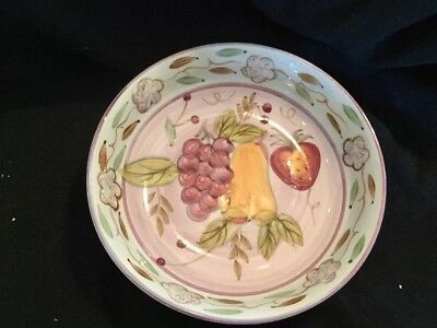"Gibson BELLA FRUITA Pasta Soup Cereal Bowl 8"" Lavender Ctr Fruit"