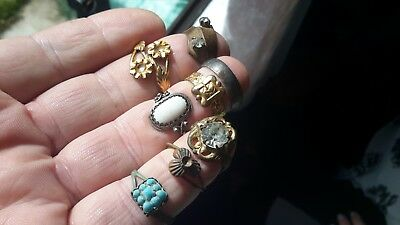 Eight Vintage Detecting Found Rings