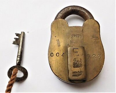 NO RESERVE Working Brass Padlock & Key Vintage Antique