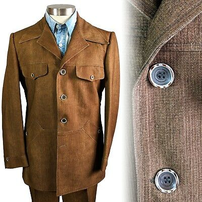Vintage 1970s brown polyester 4 button leisure suit 40 33x31