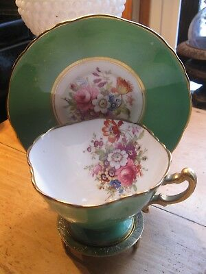 Stunning Green Hammersley  Tea Cup and Saucer Set   quaterfoil cup flowers