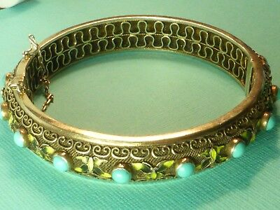 Vintage Chinese Silver Gilt Enamel Butterfly Real Turquoise Bangle Bracelet