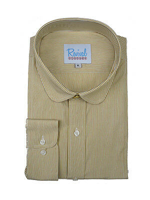 Club Collar Peaky Blinders Vintage Style Sand Stripe Shirt Top Gold Stud Button