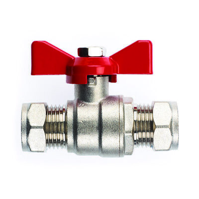 New Ball Valve - 15mm Compression Red Butterfly Handle, plumbing, full bore, UK