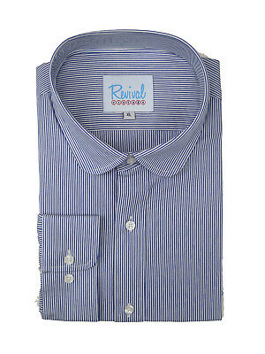 Club Collar 1930s 40s Peaky Blinders Vintage Style Blue Stripe Shirt 100% Cotton