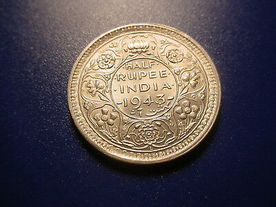 British India - Silver - 1943 1/2-Rupee In Nice Uncirculated Condition