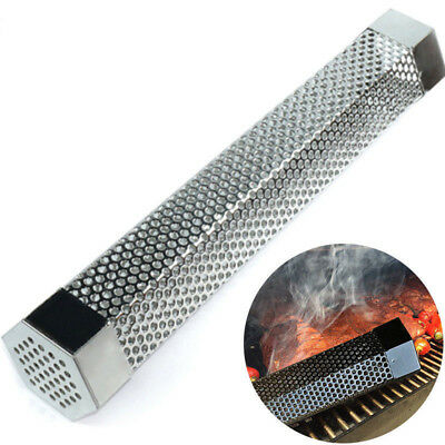BBQ Smoker Square Tube Stainless Steel Wood Pellet Barbecue Grill Hot Cold Smoke