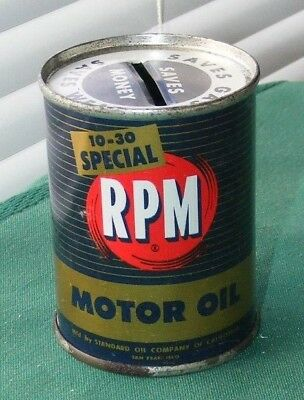 """RPM MOTOR OIL CAN VTG MINI COIN BANK 1950's 10-30 """"SPECIAL"""" STANDARD OIL CO."""