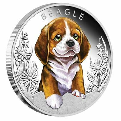2018 Puppies - Beagle Tuvalu 1/2 oz Silver Proof 50c Coin, Colorized, Perth Mint