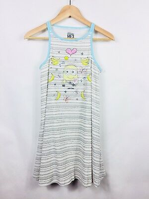 a96b32b7b Despicable Me 3 Girls Tank Dress Large Heather Gray Striped Lined Bananas  NEW