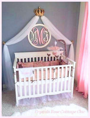 Gold Bed Crown Canopy Set Clear Rhinestones Prince/Princess Bedroom / Crib Decor