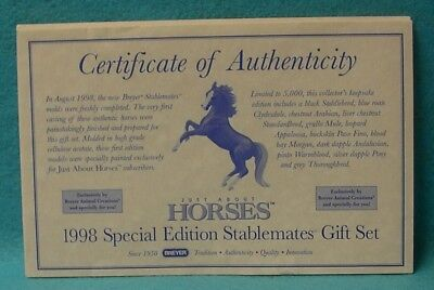 Breyer Just About Horses 1998 Special Edition Stablemates Gift Set Coa Only