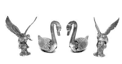 Extremely Rare Set of Gucci Silver Plated Bronze Duck and Swan Table Ornaments
