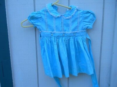 VINTAGE 1960's GIRL'S COTTON BLUE EMBROIDERED FLORAL SIZE 3-T  DRESS MADE IN USA