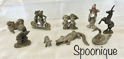 Wow! Pewter Collection Vintage Spoontiques Hudson Cuter Metal Figurines USA
