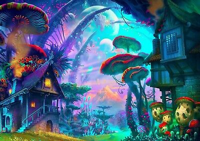 Print Art POSTER / CANVAS Psychedelic Mushroom Town