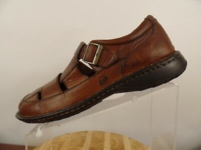 a254e333bbf4 Born Mens Brown Leather Closed Toe Fisherman Sandal Buckle Size US 10.5 EUR  44.5