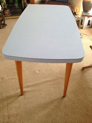 Retro Formica Kitchen Table Powder Blue Beech Wood