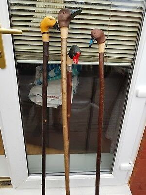 Collection of carved walking sticks