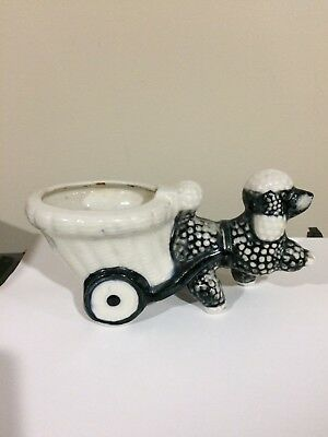 Vintage Shafford hand decorated  French Black Poodle Dog Planter Figurine