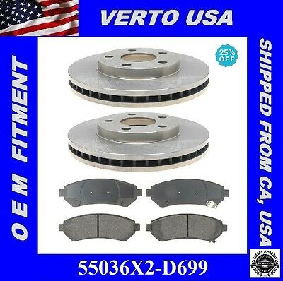 Premium Front Brake Pads And Disc Rotors Complete Kit Left & Right Pair