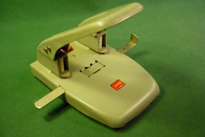 Vintage Rolodex Punchodex P-200 Gray Heavy Duty Metal 2 Hole Punch