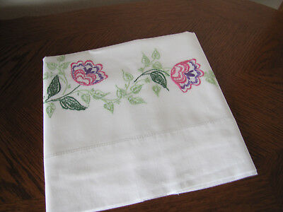 Vintage Single Pillowcase Embroidered A Garland Of Primrose Blossoms Exquisite