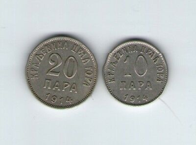20 and 10 para 1914 - Montenegro - Set of 2 coins