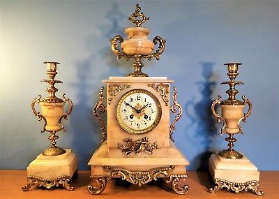 Antique French Louis Alabaster / Ormolu Clock With Garniture, Dated 1827