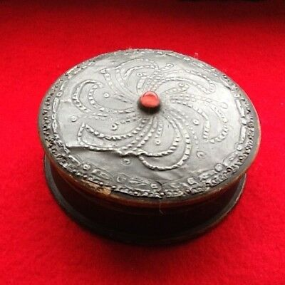 antique Art Nouveau Arts and Crafts round wood and pewter trinket box