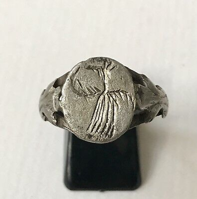 BEAUTIFUL Ancient Byzantine Silver Finger Ring With Dove. U.K. Size: V