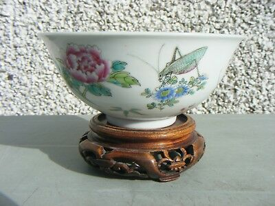 Antique Chinese Famille Rose Grasshopper Bowl Signed Possibly Quainlong Mark