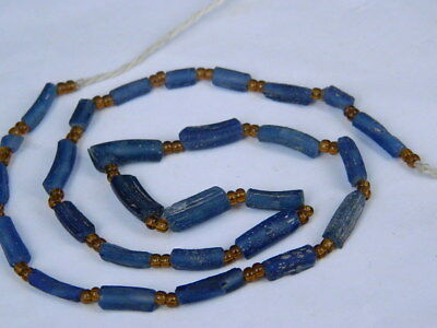 Ancient Roman Glass Fragment Beads STrand C.200 BC  #I783#