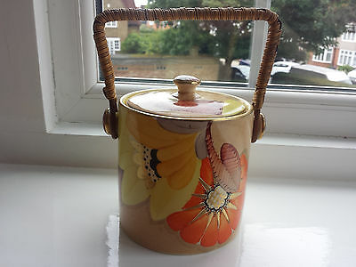 Art Deco Grays Susie Cooper style Biscuit Barrel handpainted  'Sunbuff' A2999
